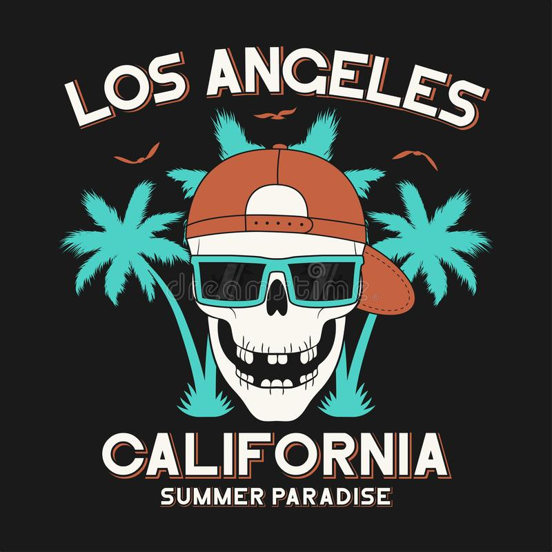 De typografie van de de t-shirtslogan van Californië, Los Angeles met palmen en schedel met zonnebril Het ontwerp van het T-stuko royalty-vrije illustratie