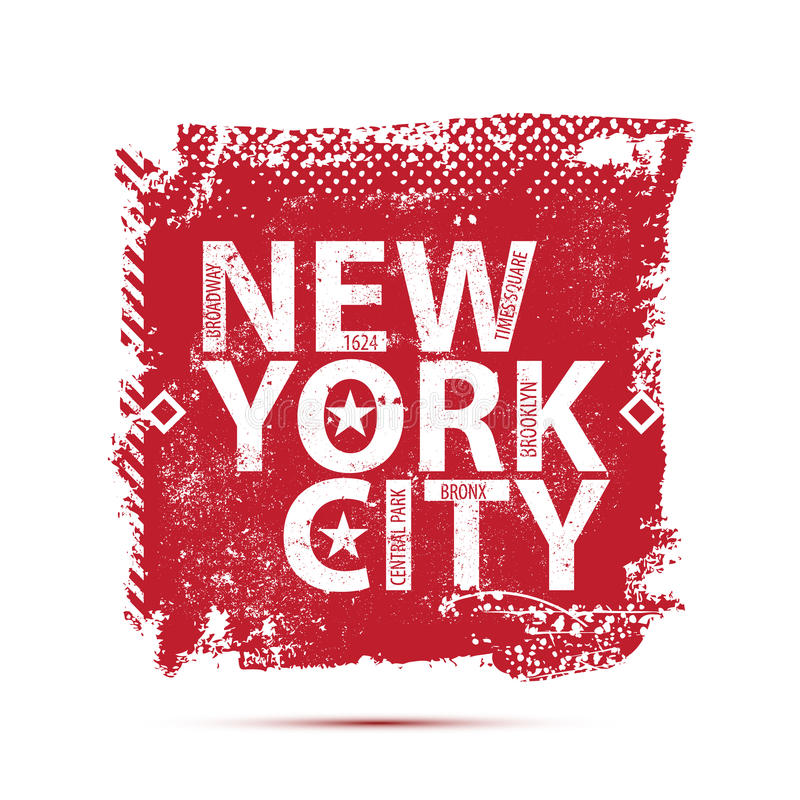 De typografie van universiteitsnew york, t-shirt royalty-vrije illustratie