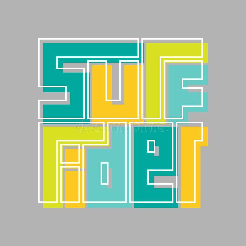 De typografieaffiche van de brandingsruiter Concept voor drukproductie vector illustratie