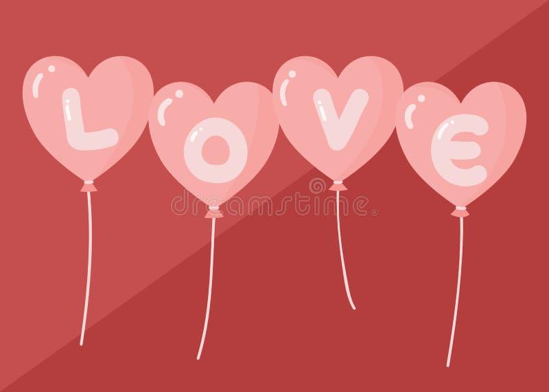 De typografiebanner van de liefdetekst voor valnetinesdag op ballon in vlakke stijl royalty-vrije illustratie