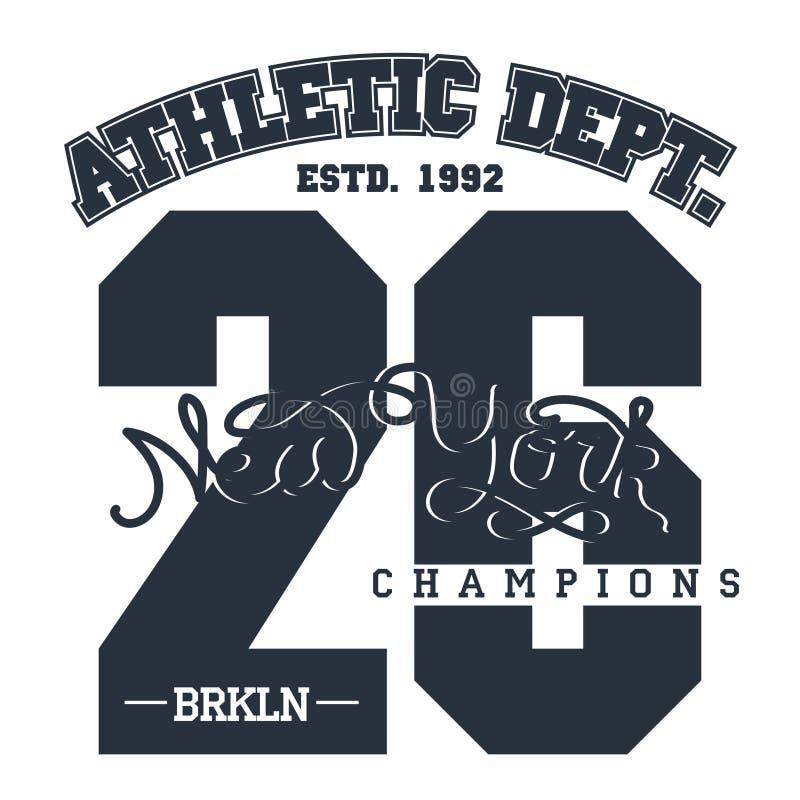 De typografieembleem van de sportslijtage, de grafiek van de t-shirtzegel royalty-vrije illustratie