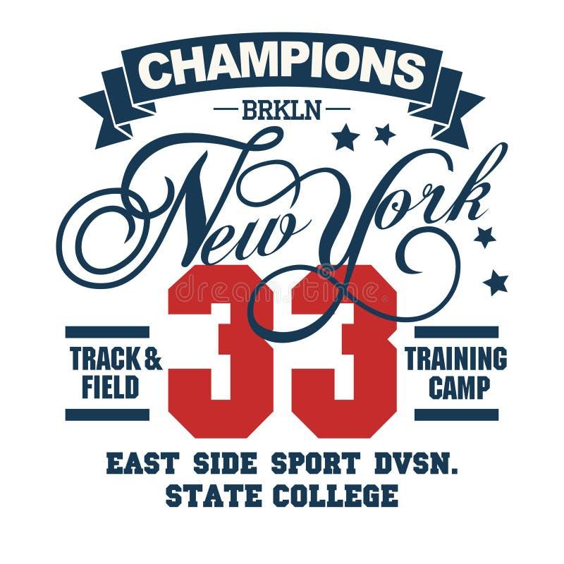 De typografieembleem van de sportslijtage, de grafiek van de t-shirtzegel vector illustratie