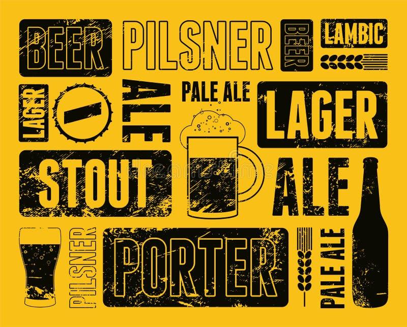 De typografische retro affiche van het grungebier Vector illustratie stock illustratie