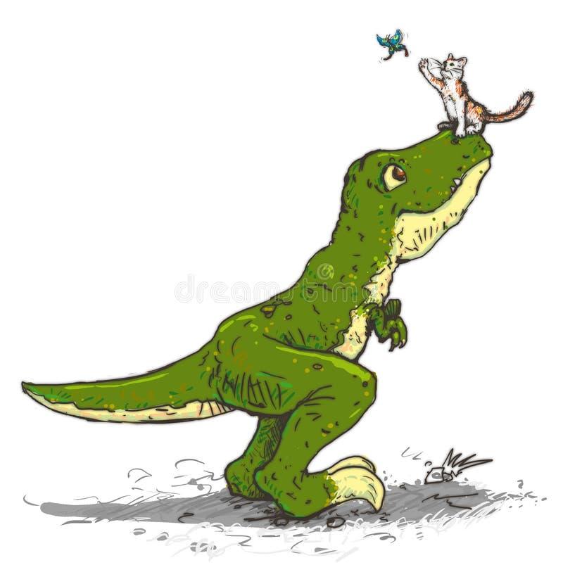 De tyrannosaurus en een kat vangen de vlinder stock illustratie