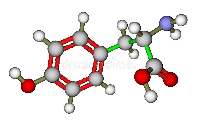 De tyrosine moleculaire structuur van het aminozuur stock illustratie