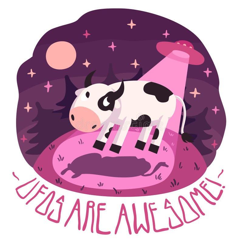 De UFO zijn ontzagwekkend! vectoraffiche met koe op de heuvel en UFO in de nacht met volle maan en sterren (beeldverhaal stock illustratie