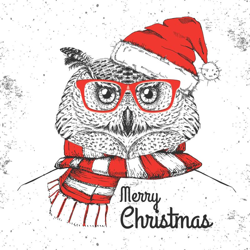 De uil van de de maniervogel van Kerstmishipster gekleed een een Nieuwjaarhoed en sjaal vector illustratie