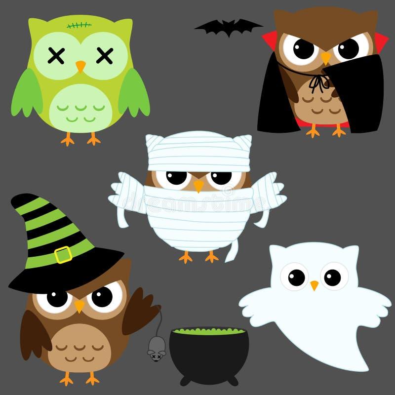 De uilen van Halloween stock illustratie