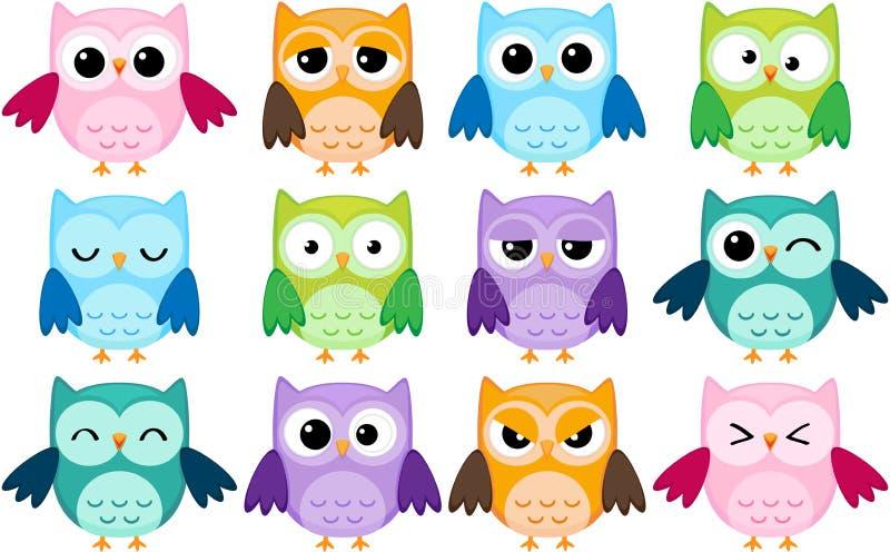 De uilen van het beeldverhaal royalty-vrije illustratie