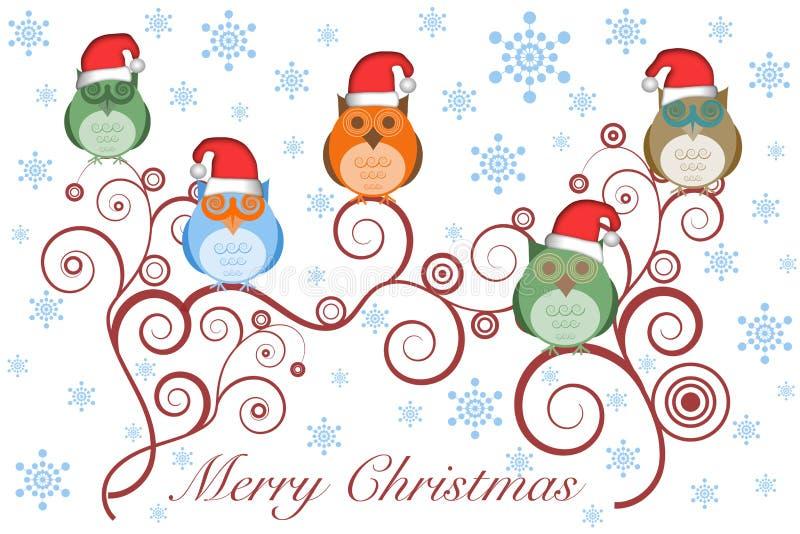 De Uilen van Kerstmis met de Hoed van de Kerstman op Boom royalty-vrije illustratie