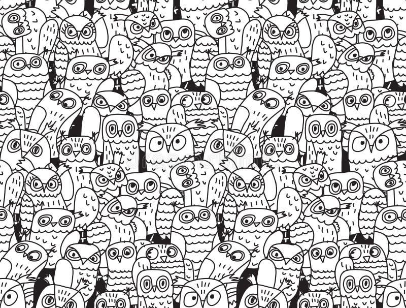 De uilenvogels groeperen zwart-wit naadloos patroon stock illustratie