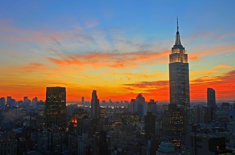 De Stads uit het stadscentrum horizon van New York stock foto