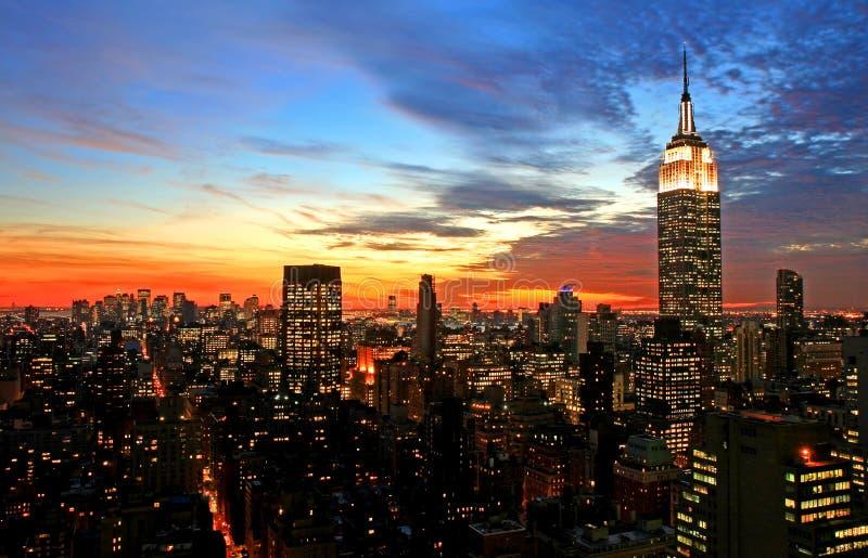 De uit het stadscentrum horizon van de Stad van New York stock foto