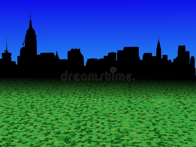De uit het stadscentrum horizon van Manhattan met abstracte de voorgrondillustratie van de dollarmunt vector illustratie