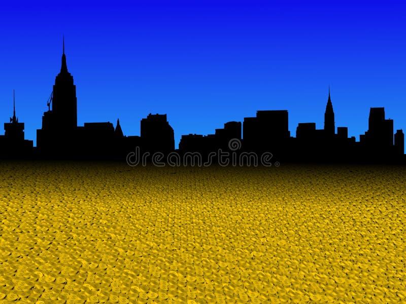 De uit het stadscentrum horizon van Manhattan met gouden de voorgrondillustratie van dollarmuntstukken royalty-vrije illustratie