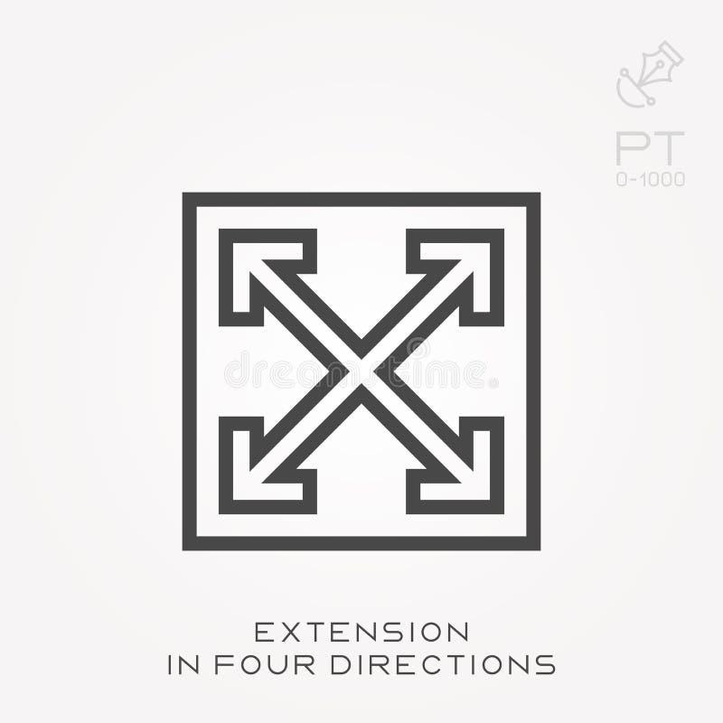 De uitbreiding van het lijnpictogram in vier richtingen vector illustratie