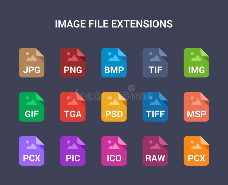 De uitbreidingen van het beelddossier Vlak gekleurde vectorpictogrammen vector illustratie