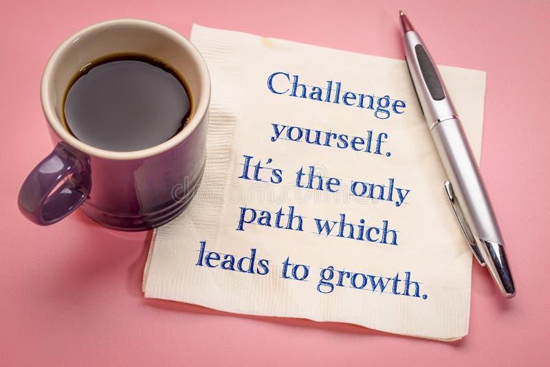 De uitdaging zelf, het is de enige weg die tot de groei leidt royalty-vrije stock foto's