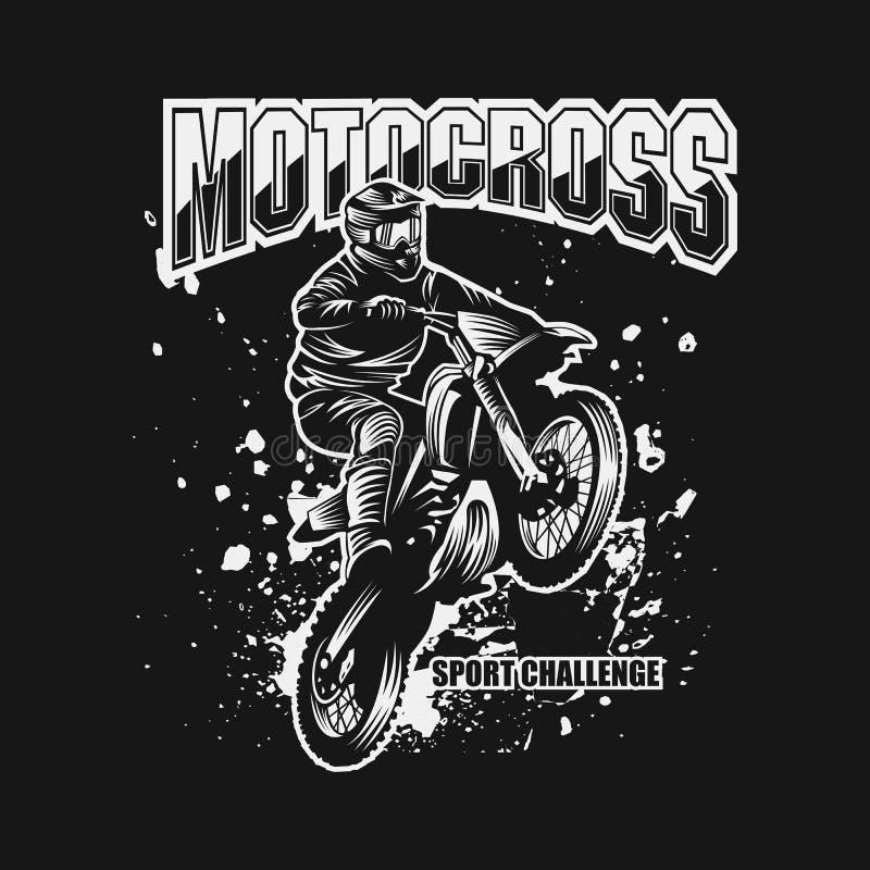 De uitdagings vectorillustratie van de motocrosssport stock illustratie