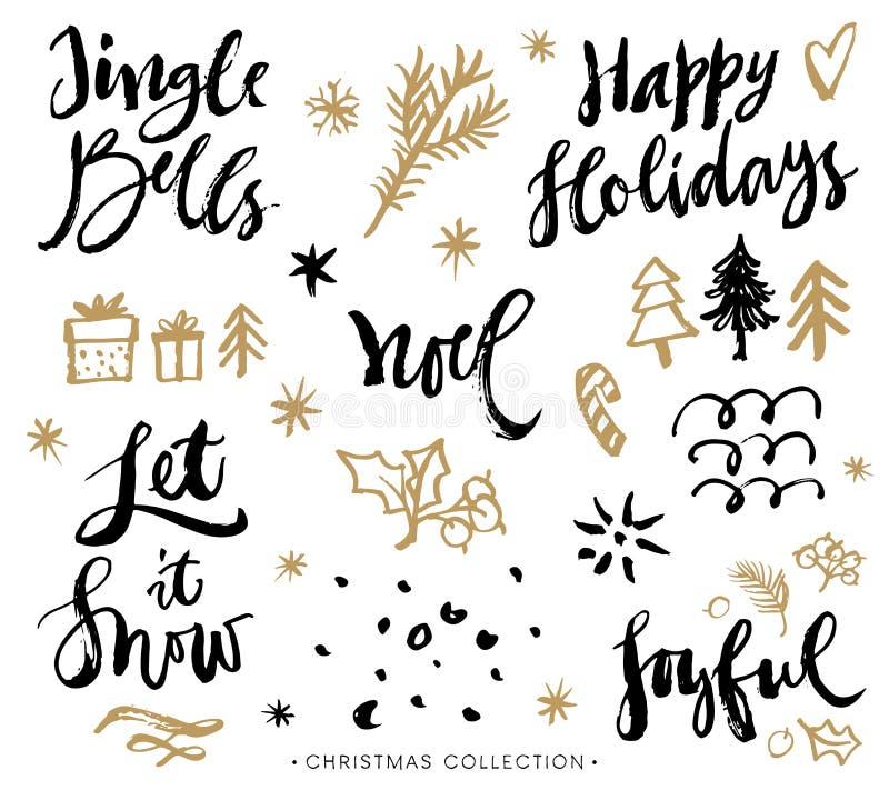 De uitdrukkingen van de Kerstmiskalligrafie Hand getrokken ontwerpelementen stock illustratie