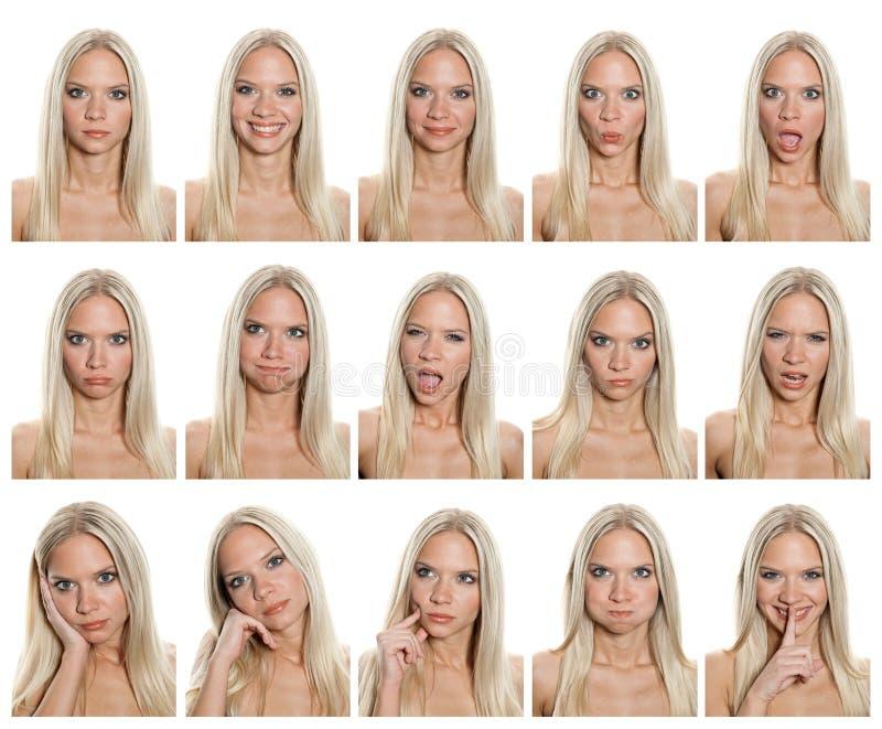 De uitdrukkingeninzameling van de vrouw stock afbeeldingen