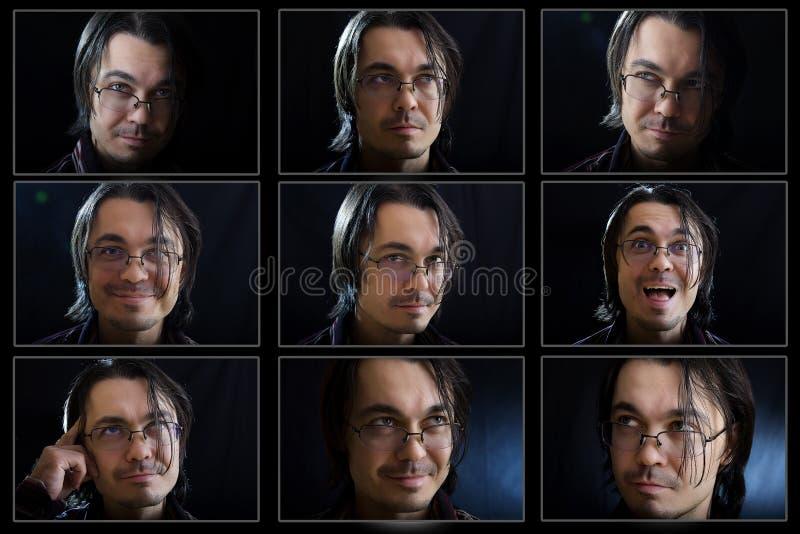 De uitdrukkingensamenstelling van het jonge mensengezicht stock foto's