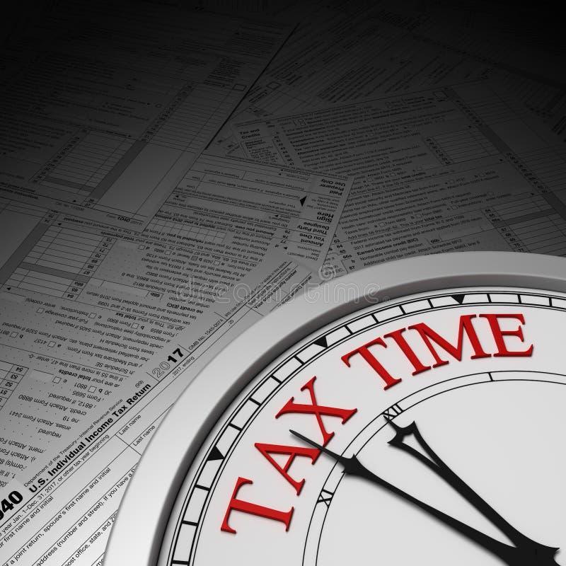 De uiterste termijn van de belastingstijd op een klok stock illustratie