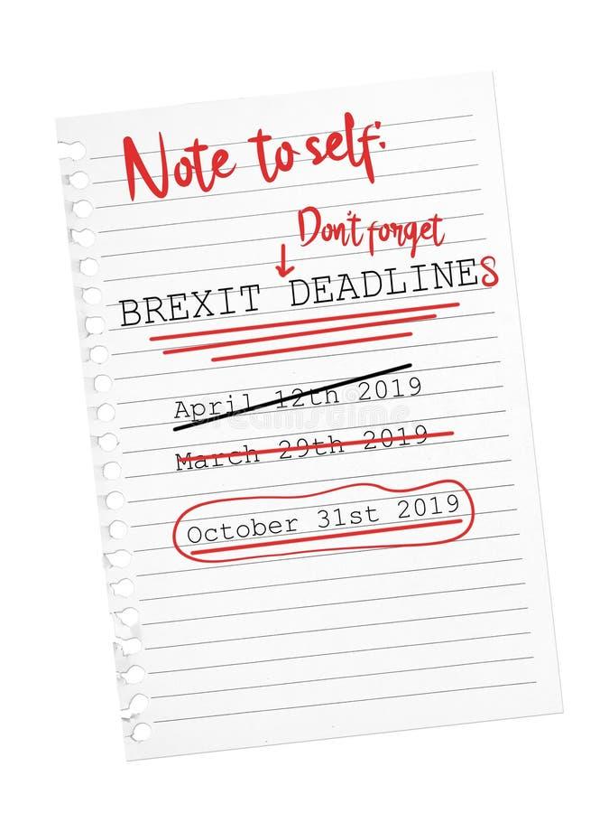 De uiterste termijn van Brexit Oktober van de herinneringsnota Gescheurd blad van document stock fotografie