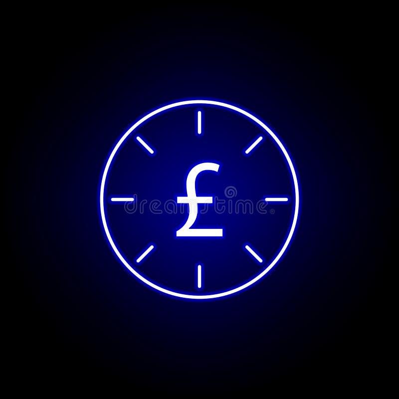 de uiterste termijnpictogram van het klokpond in neonstijl Element van financi?nillustratie Tekens en symbolen het pictogram kan  royalty-vrije illustratie