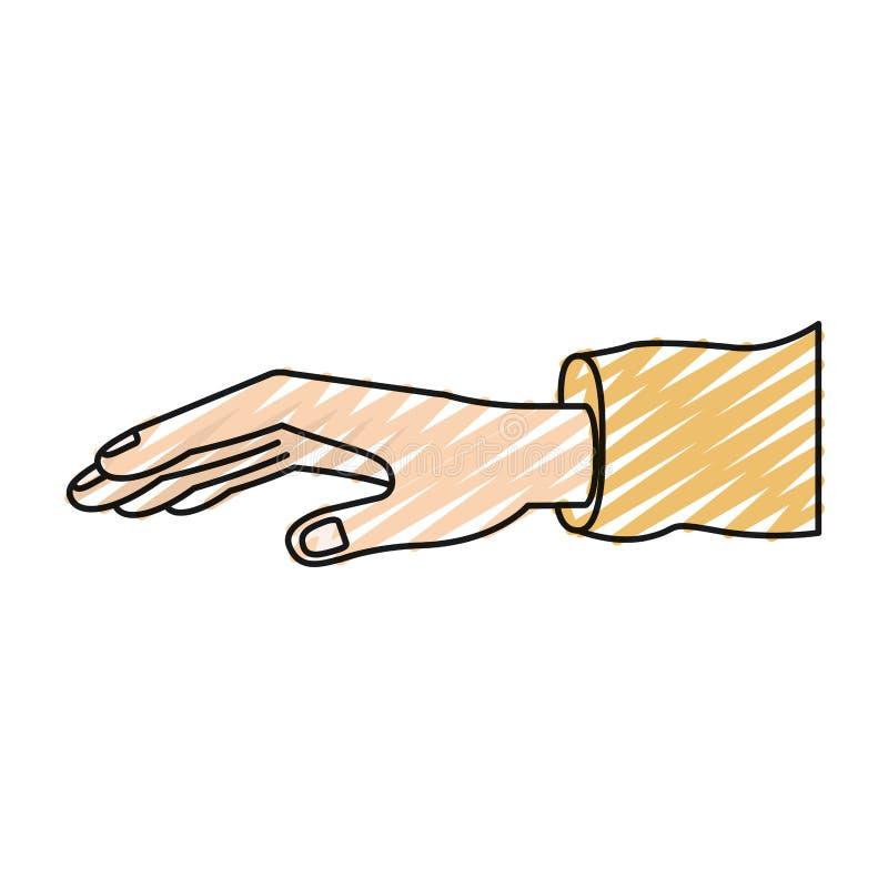 De uitgebreide hand van het kleurenkleurpotlood silhouet met kokert-shirt royalty-vrije illustratie