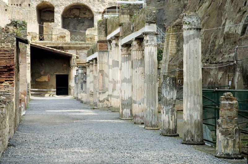 De uitgravingen van Herculaneum, Napels, Italië royalty-vrije stock foto's