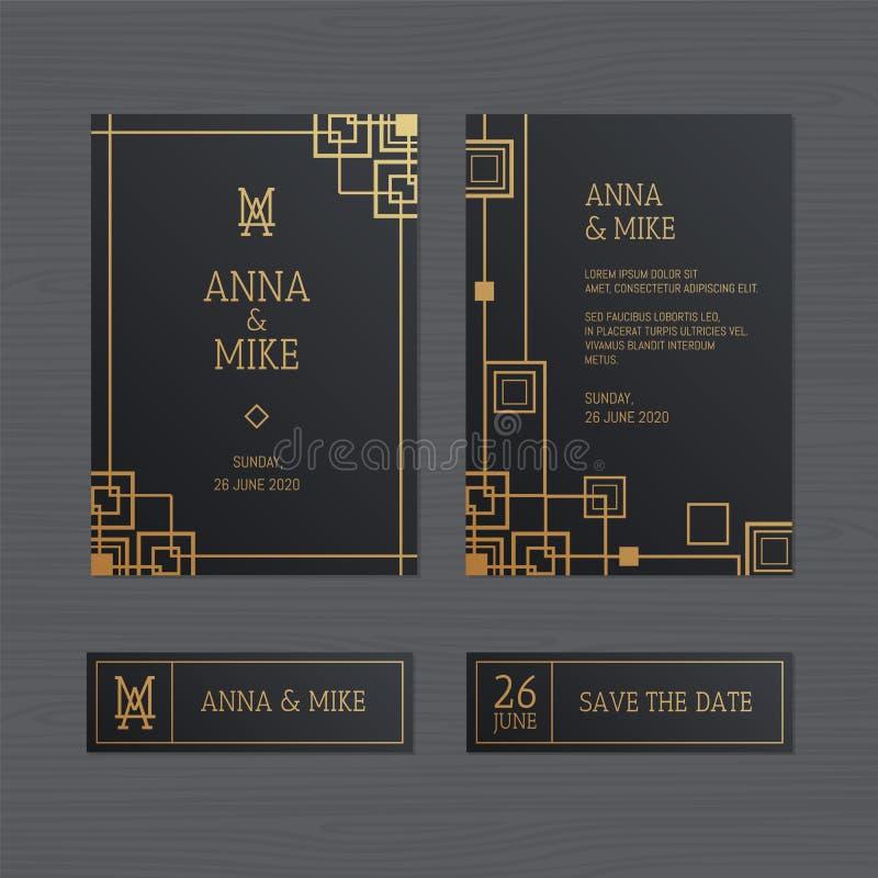 De uitnodiging of de groetkaart van het luxehuwelijk met geometrische orname stock illustratie