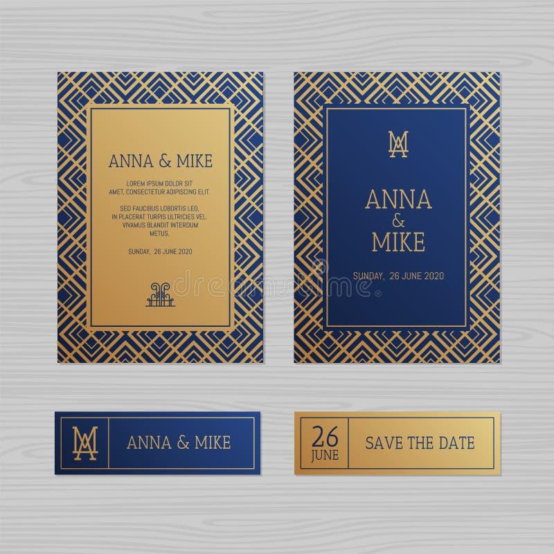 De uitnodiging of de groetkaart van het luxehuwelijk met geometrische orname vector illustratie
