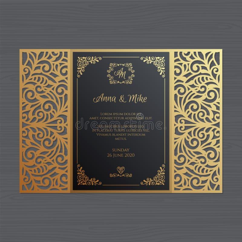De uitnodiging of de groetkaart van het luxehuwelijk met uitstekend bloemeno royalty-vrije illustratie