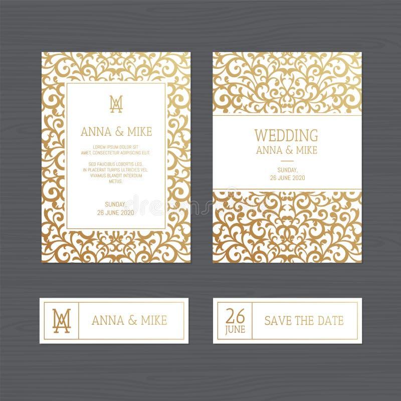 De uitnodiging of de groetkaart van het luxehuwelijk met uitstekend goud orn royalty-vrije illustratie