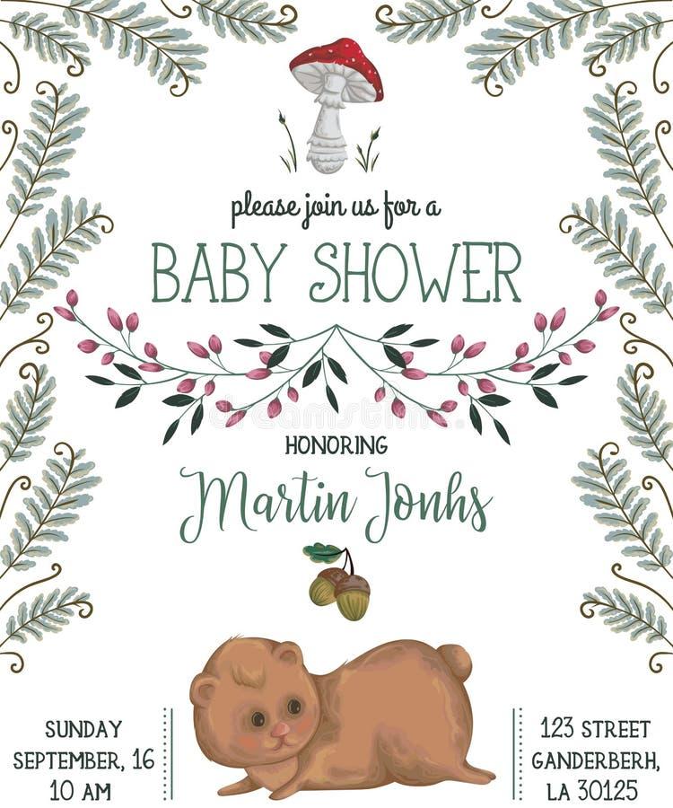 De uitnodiging van de babydouche met beer, paddestoel, bloemen, bladeren, varen en eikel royalty-vrije illustratie