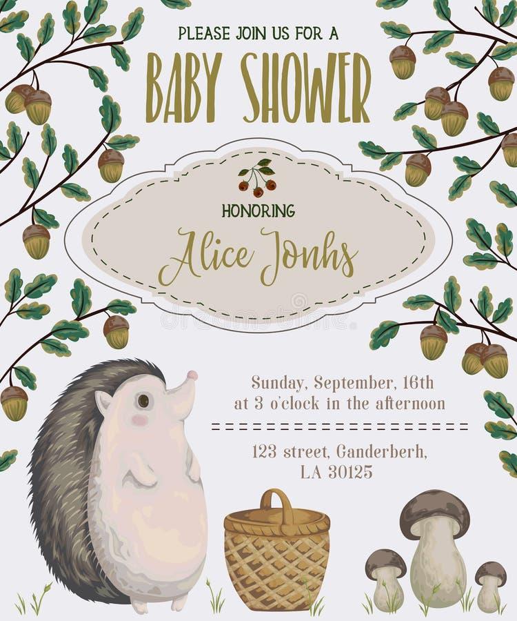 De uitnodiging van de babydouche met egel, mand, paddestoelen, eik en eikel vector illustratie