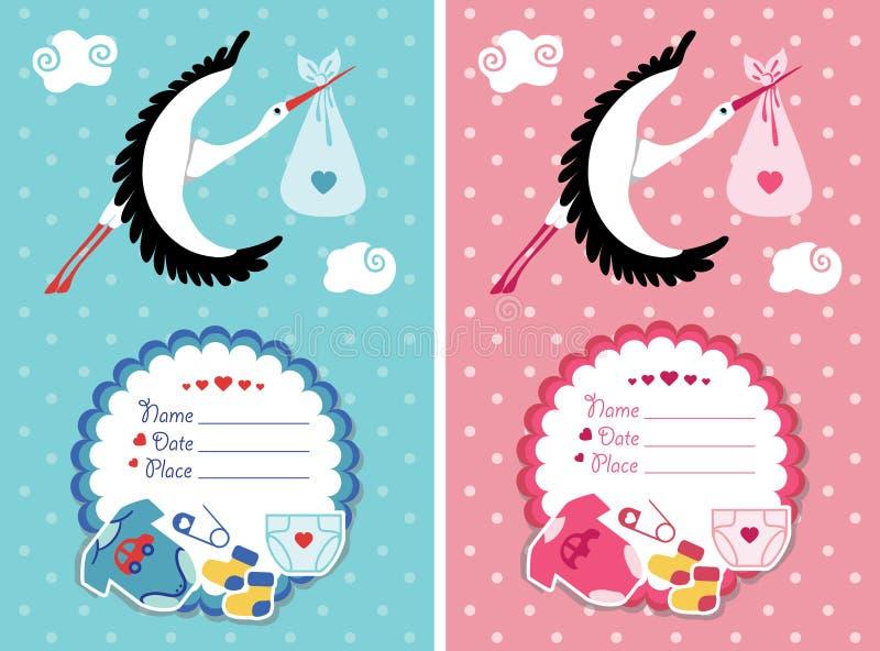 De uitnodiging van de babydouche met nieuw - geboren baby vector illustratie