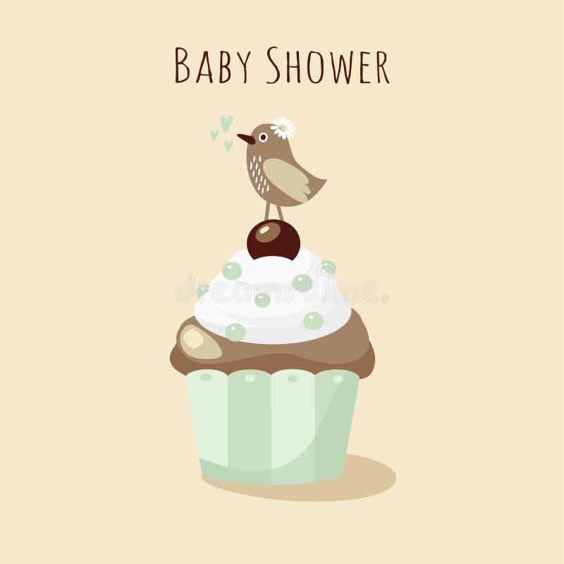 De uitnodiging van de babydouche, verjaardagskaart met vogel, cupcake royalty-vrije illustratie