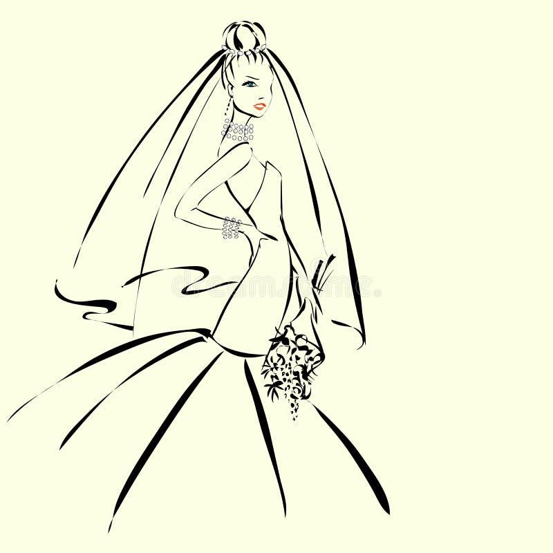 De uitnodiging van de huwelijksdag met mooie fiancee vector illustratie