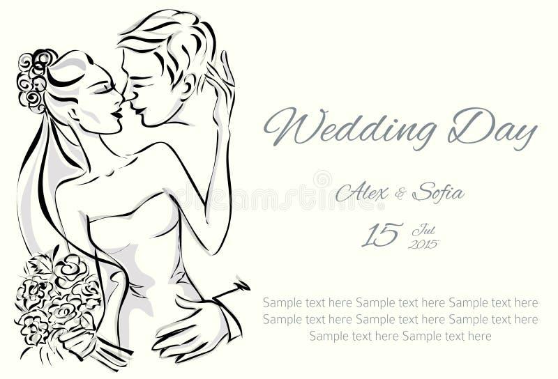 De uitnodiging van de huwelijksdag met zoet paar vector illustratie