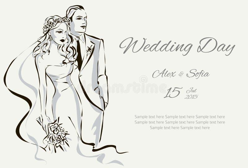 De uitnodiging van de huwelijksdag met zoet paar royalty-vrije illustratie
