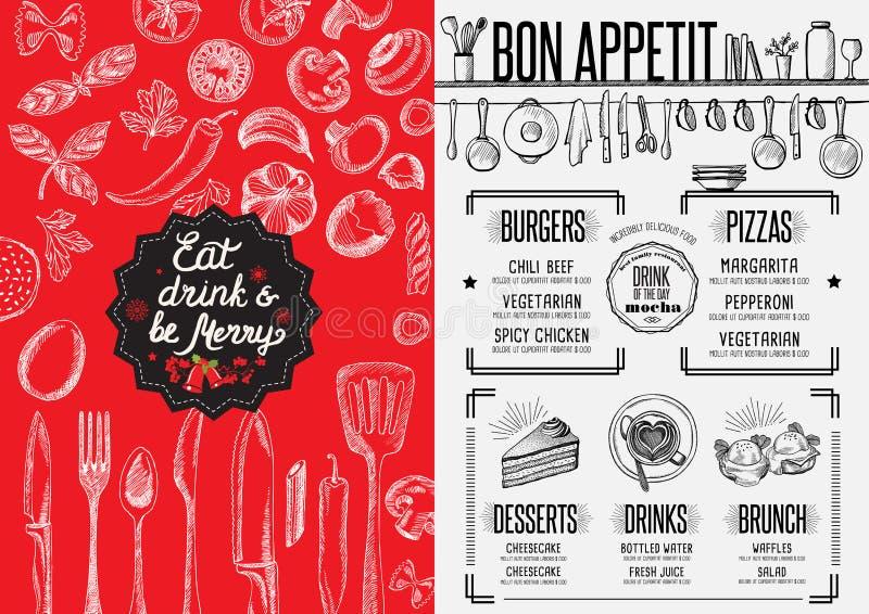 De uitnodiging van de Kerstmispartij, het restaurant van het voedselmenu stock illustratie