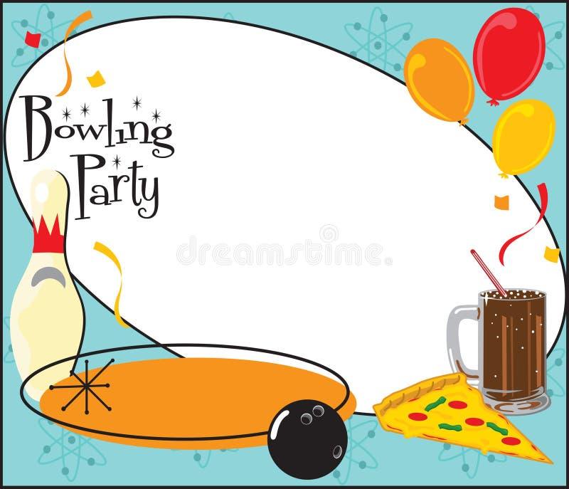 De Uitnodiging van de partij van de Verjaardag van het kegelen stock illustratie