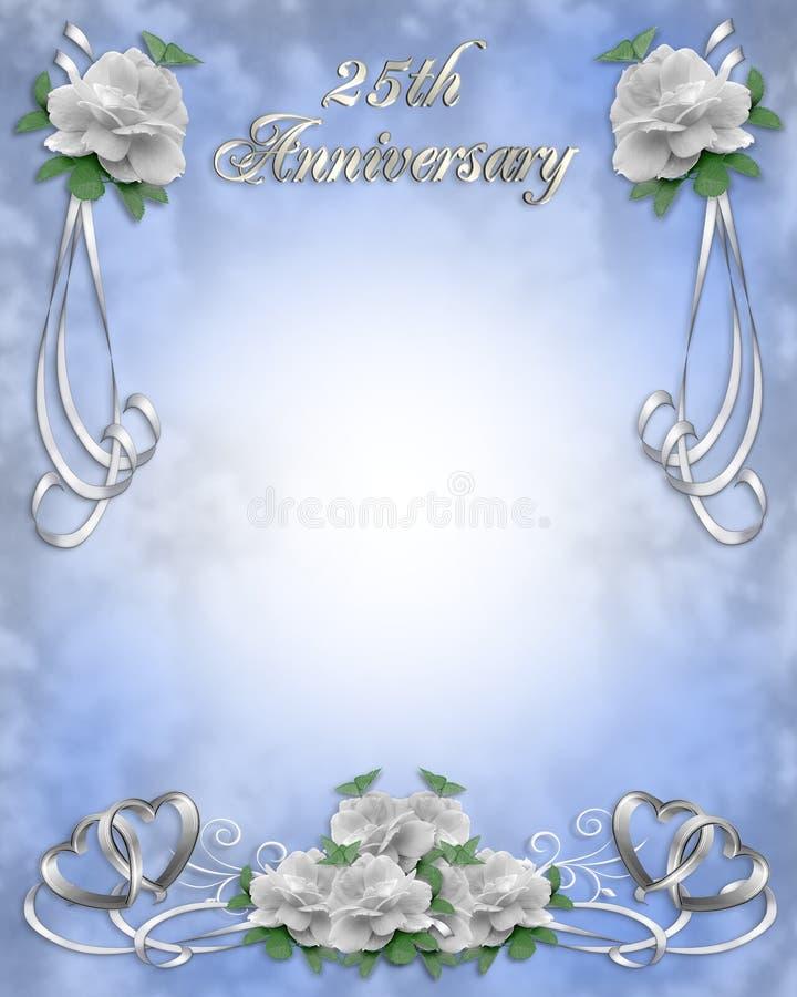 De Uitnodiging van de Verjaardag van het huwelijk 25 jaar stock illustratie