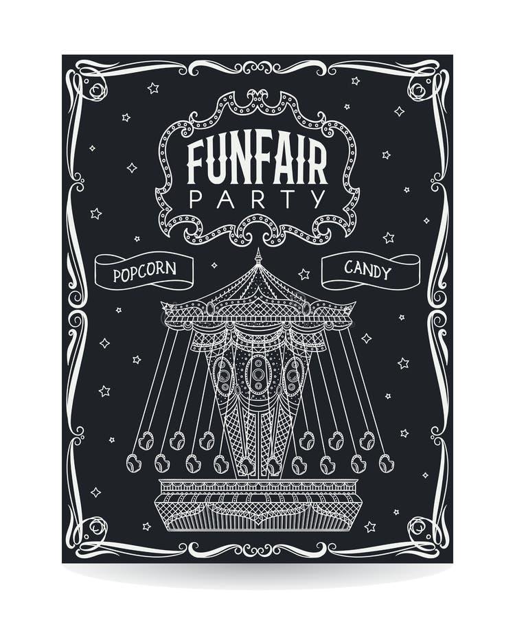 De uitnodiging van de Funfairpartij op bord met uitstekende carrousel en decoratieve elementen stock illustratie