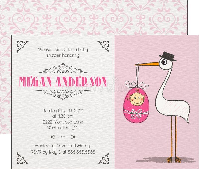 De Uitnodiging van het babymeisje stock illustratie