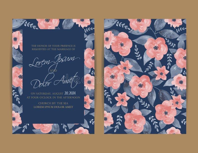 De uitnodiging van het huwelijk Bloemen achtergrond royalty-vrije illustratie