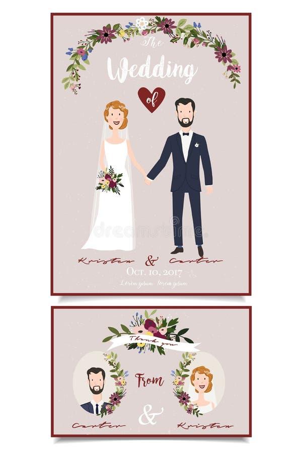 De uitnodiging van het huwelijk Bruids paarillustratie Bloemenontwerp met met de hand geschreven teksten stock illustratie