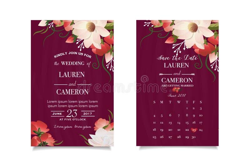 De uitnodiging van het huwelijk De bloemen van de waterverflente Sparen de Datum Het concept van het huwelijk stock illustratie